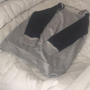 F21 faux leather sleeves gray sweater small